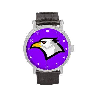 Eagle calvo en la púrpura violeta reloj de mano