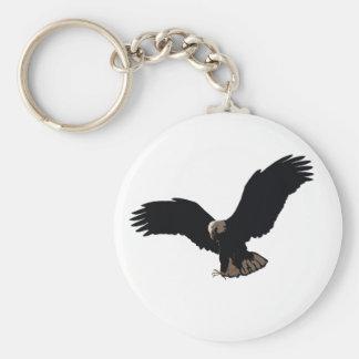 Eagle calvo que vuela llavero redondo tipo chapa