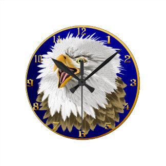 Eagle calvo Wallclock principal Reloj De Pared