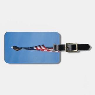 Eagle calvo y bandera americana - etiqueta del