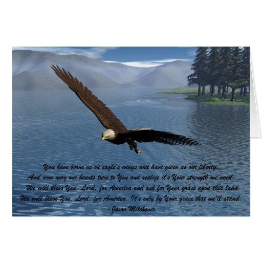 Eagle con el poema tarjetas