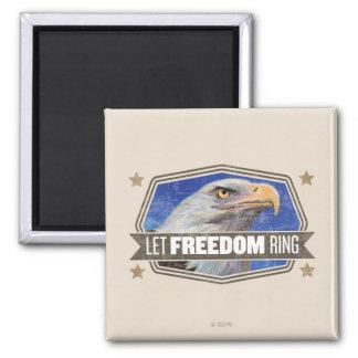 Eagle-Deje el anillo de la libertad Imán Cuadrado