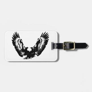 Eagle negro y blanco etiqueta para maletas