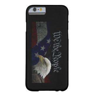 Eagle patriótico y bandera funda para iPhone 6 barely there