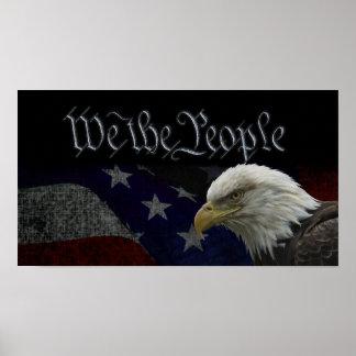 Eagle patriótico y bandera póster