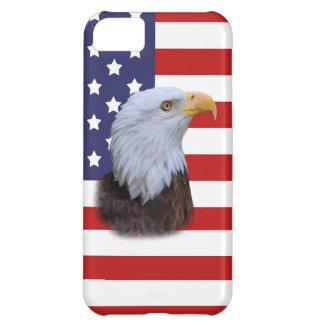 Eagle patriótico y personalizable de la bandera de funda para iPhone 5C
