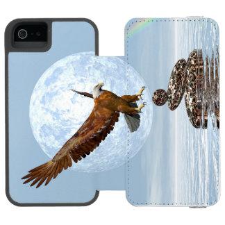 Eagle que aterriza en piedras equilibradas - 3D Funda Cartera Para iPhone 5 Watson
