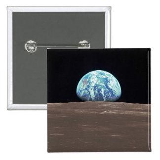 Earthrise de la luna chapa cuadrada 5 cm