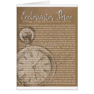 Ecclesiastes tres, estímulo religioso tarjeta de felicitación
