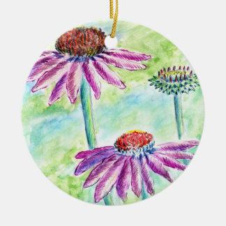 Echinacea, lápiz de la acuarela ornamento de navidad