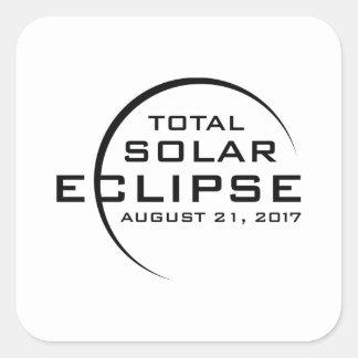 Eclipse solar total 2017 pegatina cuadrada