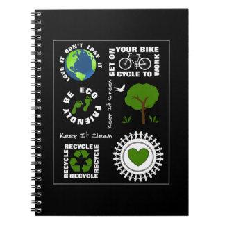 Eco amistoso va tierra verde del planeta del amor libros de apuntes con espiral