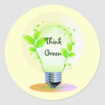 Eco piensa verde pegatina redonda