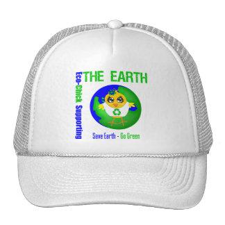 Eco-Polluelo que apoya la tierra Gorras De Camionero