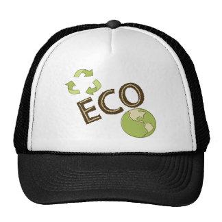 Eco respetuoso del medio ambiente recicla la camis gorros
