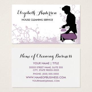 Economía doméstica púrpura femenina de la silueta tarjeta de visita