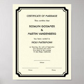 Ecru negro del certificado del boda del recuerdo d impresiones