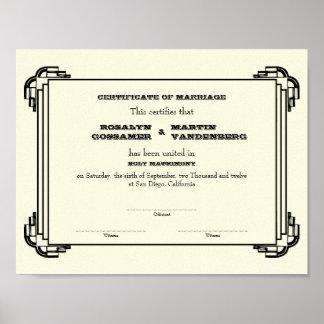 Ecru negro del certificado del boda del recuerdo d póster