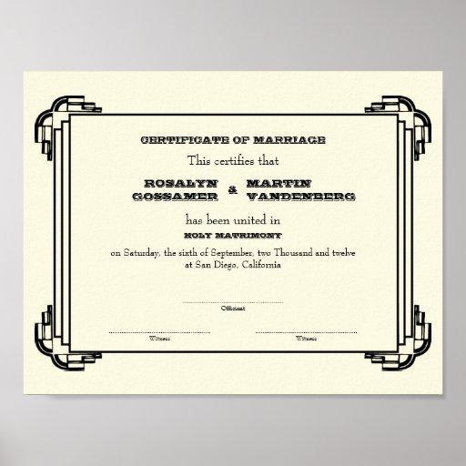 Ecru negro del certificado del boda del recuerdo d poster