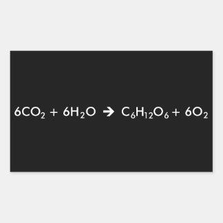 Ecuación de la fotosíntesis pegatina rectangular