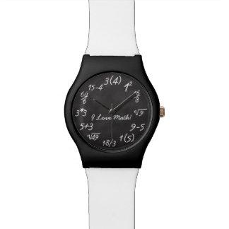 Ecuación divertida de la pizarra del friki de la m relojes de pulsera