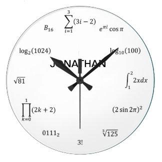 Ecuaciones y notaciones de la matemáticas reloj redondo grande