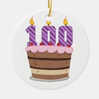 Edad 100 en la torta de cumpleaños adorno redondo de cerámica