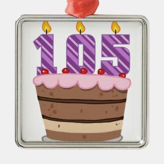 Edad 105 en la torta de cumpleaños ornamento de navidad