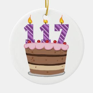 Edad 117 en la torta de cumpleaños adorno de reyes