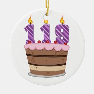 Edad 119 en la torta de cumpleaños ornato