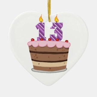 Edad 13 en la torta de cumpleaños adorno de cerámica en forma de corazón