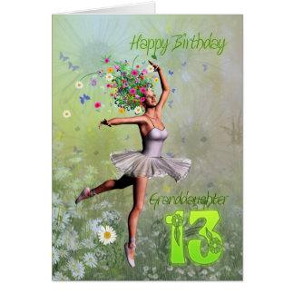 Edad 13, tarjeta de la nieta de cumpleaños de hada