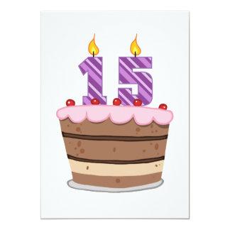 Edad 15 en la torta de cumpleaños invitación 12,7 x 17,8 cm