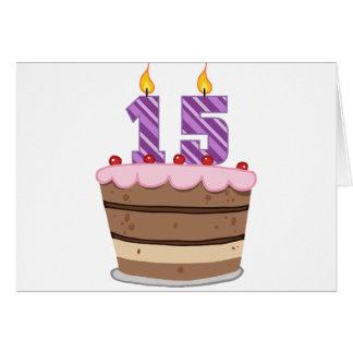 Edad 15 en la torta de cumpleaños tarjeta de felicitación