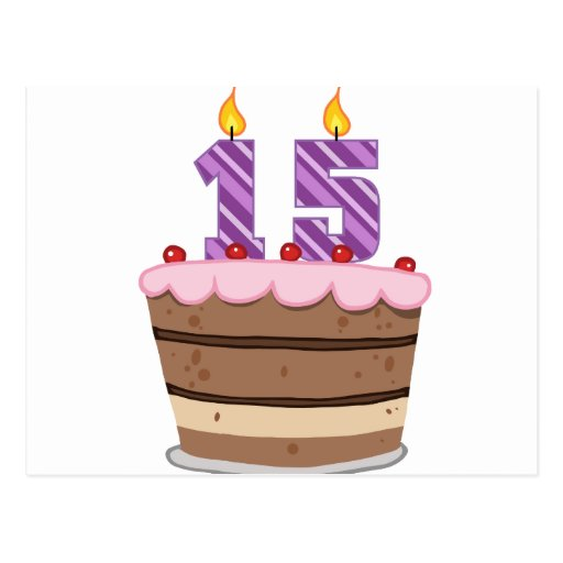 Edad 15 en la torta de cumpleaños tarjetas postales