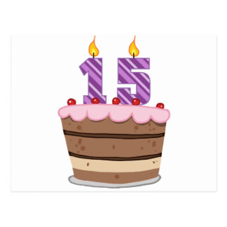 Edad 15 en la torta de cumpleaños postal