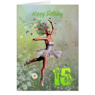 Edad 15, tarjeta de cumpleaños de hadas de la flor