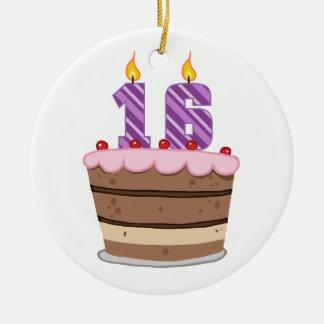 Edad 16 en la torta de cumpleaños adorno redondo de cerámica