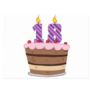 Edad 18 en la torta de cumpleaños postal