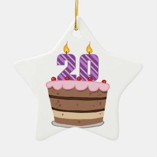 Edad 20 en la torta de cumpleaños adorno de cerámica en forma de estrella