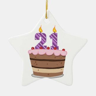 Edad 21 en la torta de cumpleaños adorno de cerámica en forma de estrella