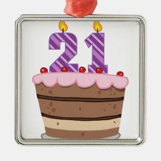 Edad 21 en la torta de cumpleaños adorno cuadrado plateado