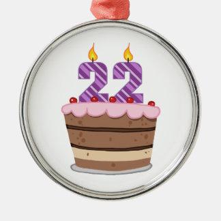 Edad 22 en la torta de cumpleaños ornamento de navidad
