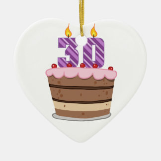 Edad 30 en la torta de cumpleaños adorno de cerámica en forma de corazón