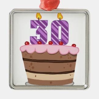 Edad 30 en la torta de cumpleaños adorno cuadrado plateado