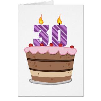 Edad 30 en la torta de cumpleaños tarjeta de felicitación