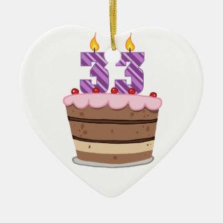 Edad 33 en la torta de cumpleaños ornaments para arbol de navidad