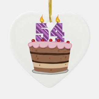 Edad 54 en la torta de cumpleaños adorno de navidad