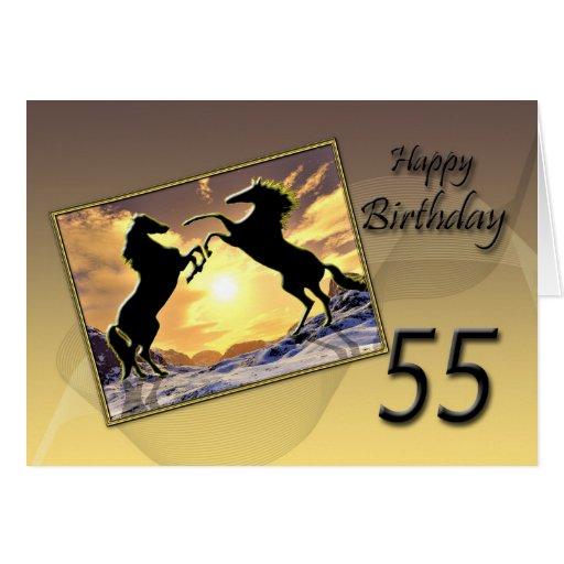 Edad 55, tarjeta de cumpleaños con alzar caballos de Zazzle.