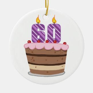 Edad 60 en la torta de cumpleaños ornamento de reyes magos